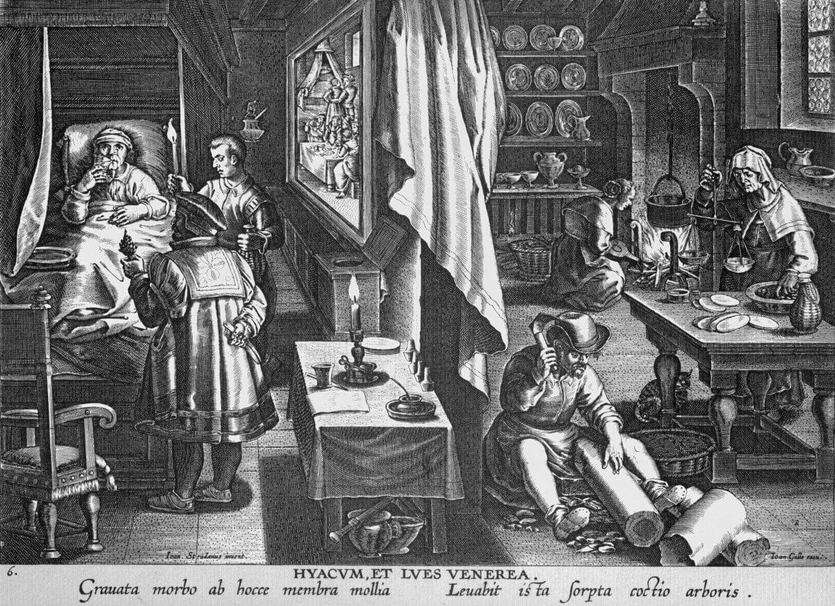 Historische Syphilis-Behandlung mit Guayaco im Jahre 1570