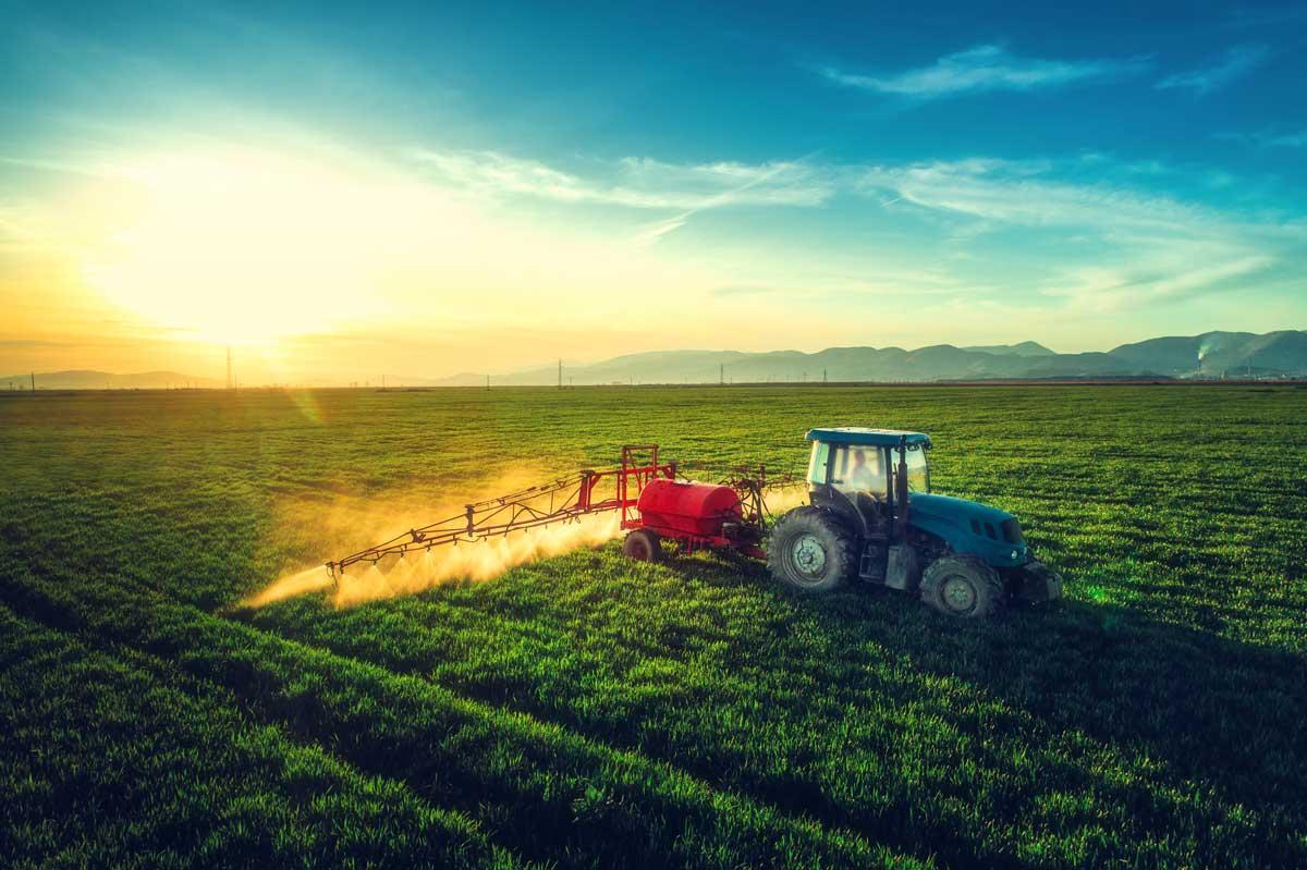 Bauer mit Traktor auf dem Feld