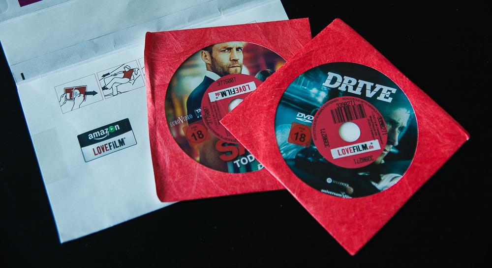 Lovefilm-DVDs mit 2-Weg-Umschlag