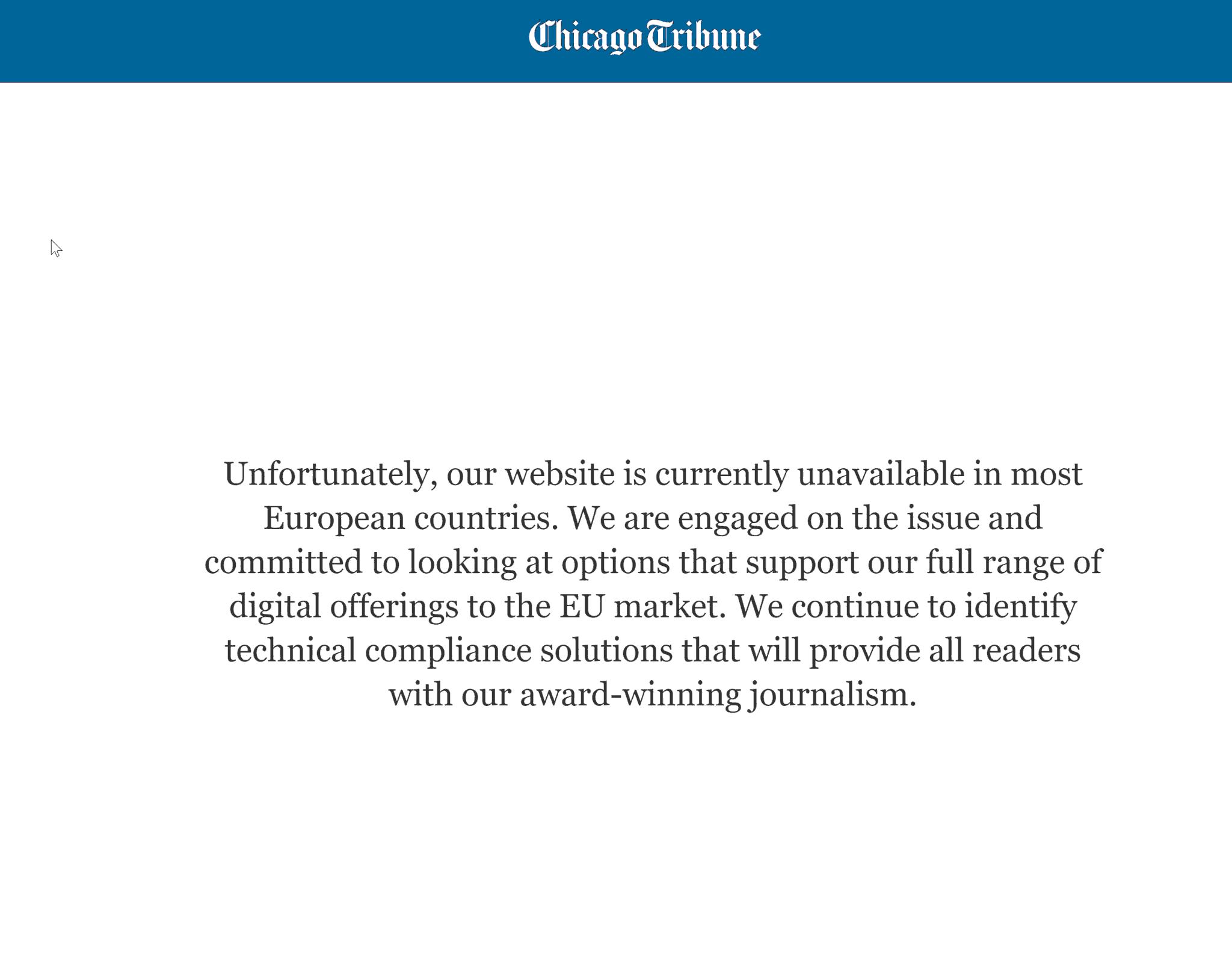 Screenshot: Chicago Tribune für europäische Nutzer gesperrt