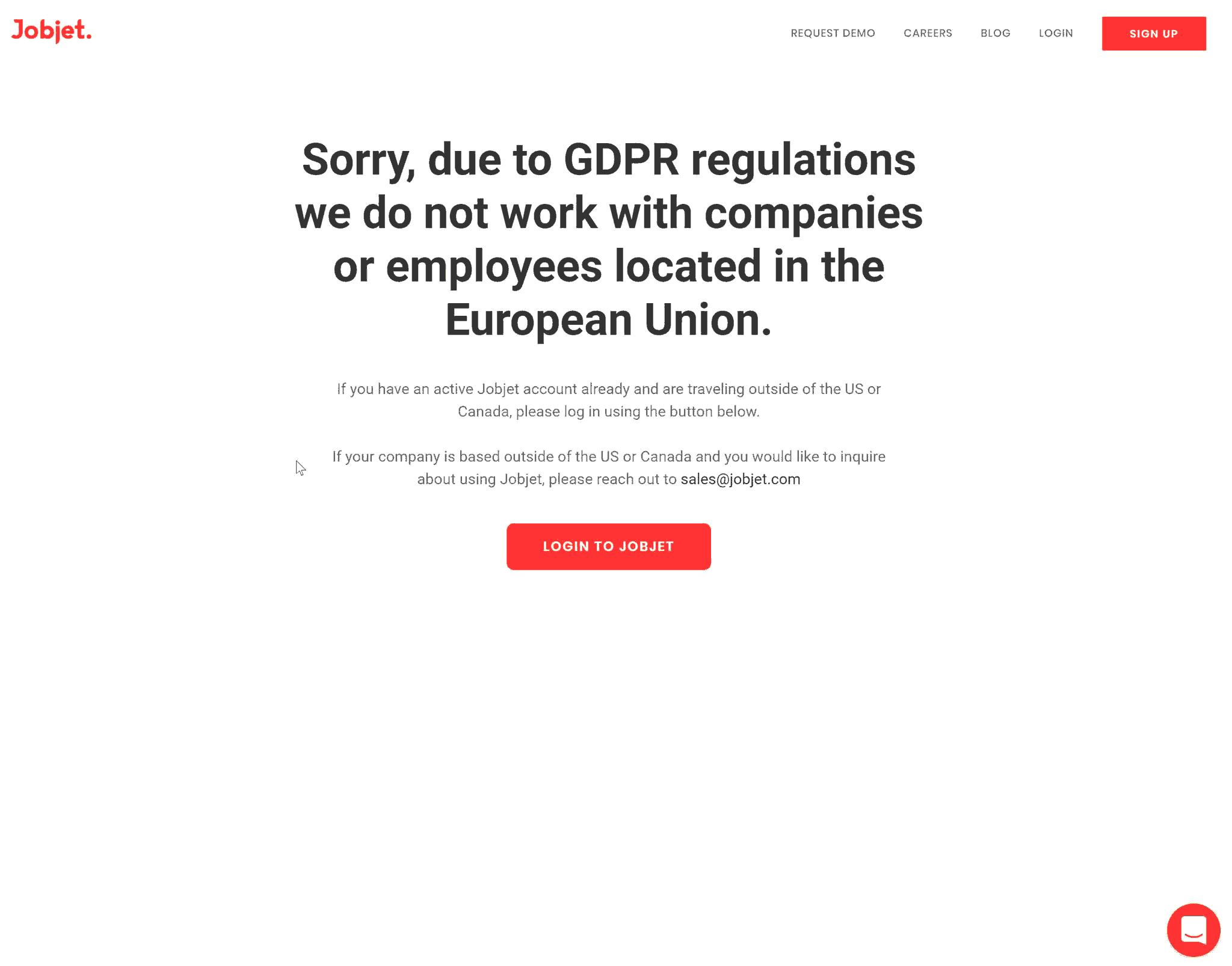 Screenshot: Jobjet für europäische Nutzer gesperrt