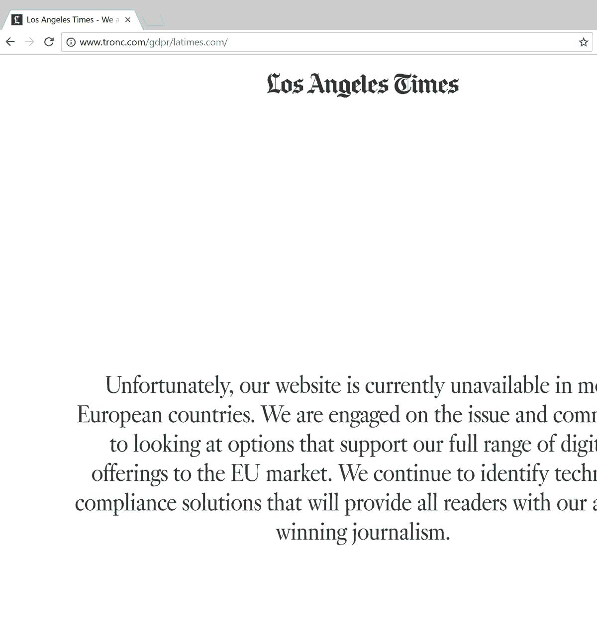 Screenshot: Los Angeles Times für europäische Nutzer gesperrt