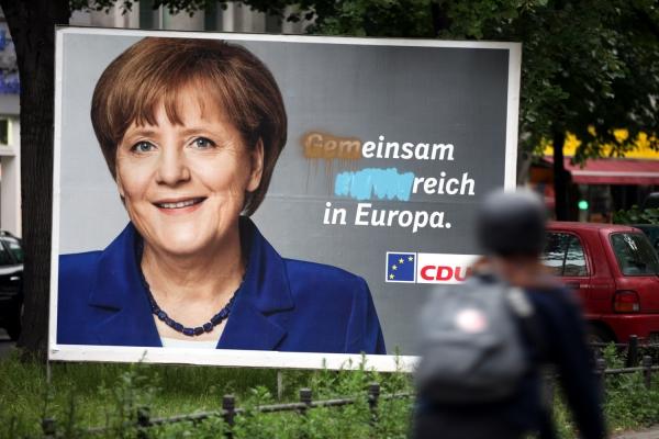 Beschmiertes CDU-Wahlplakat zur Europawahl 2014, über dts Nachrichtenagentur