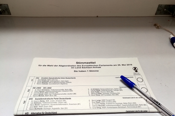 Stimmzettel zur Europawahl am 26.05.2019, über dts Nachrichtenagentur