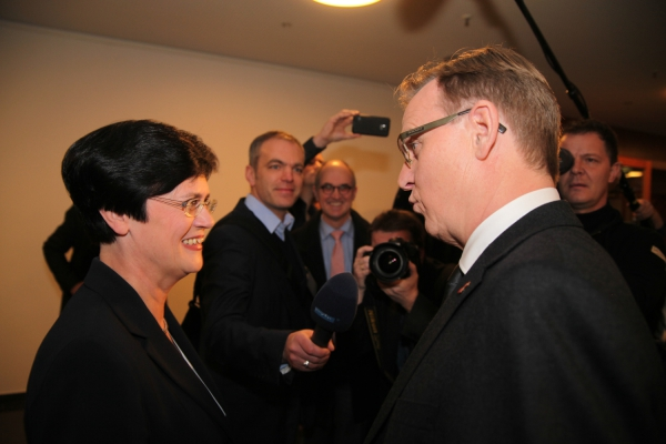 Bodo Ramelow und Christine Lieberknecht am 05.12.2014 im Erfurter Landtag, über dts Nachrichtenagentur